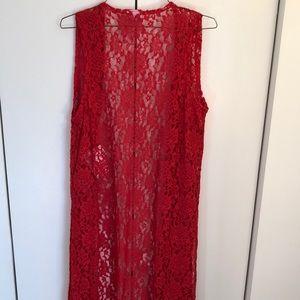 LuLaRoe Red Lace Joy Vest